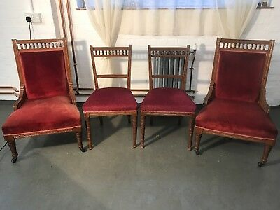 Antique Edwardian Oak Salon Chairs x 4 in lovely condition