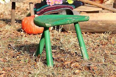Three Legged Antique Green Wooden Milking Stool Small Primitive Rustic Stool