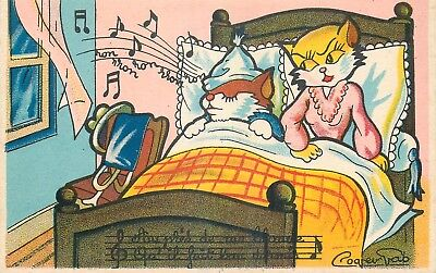 Cp Chanson Aupres De Ma Blonde Illustree Chat Humanise Ronflant Pres Blonde