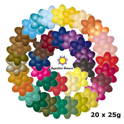 20 x 25g Sugarflair Concentrated Edible Paste Gel Food Colouring for Cake Icing