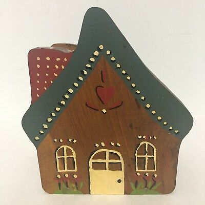 Vintage handcrafted wooden NAPKIN holder with hand painted FOLK ART Cottage  EUC