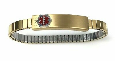 New  Speidel Medilog Medical Alert Bracelet Womens Stretch Band w/ Compartment