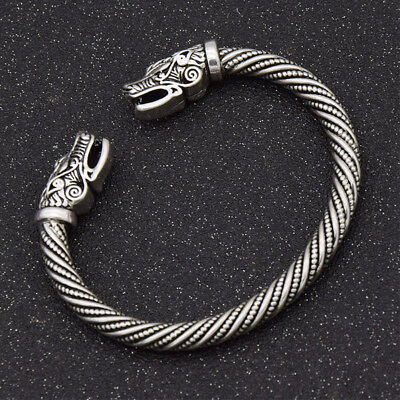 UK Large Viking Wolf Head Bracelet/Torc --- Norse/Medieval/Pewter/Jewelry