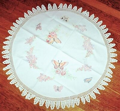 """31"""" Round White Linen Embroidered Table Cloth/Topper (Flowers & Butterflies)"""