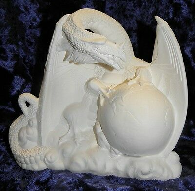 Ceramic Bisque Ready To Paint dragon with the world in his claws