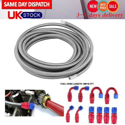 6 Meter AN6 8mm Stainless Steel Braided Oil Fuel Line Hose + Fitting End Adapter