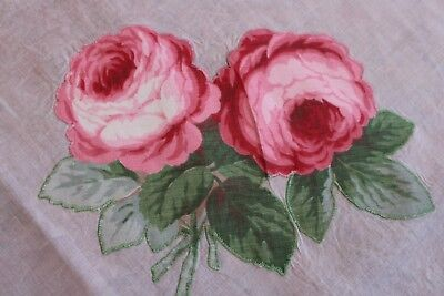 Vintage Lovely White Palest Pink Tablecloth 48x52 Shaded Pink Appliqued Roses