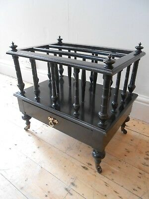 Late Victorian Aesthetic Movement Ebonised Canterbury with Gothic Style Handle