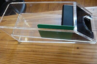"""HEAVY ACRYLIC DEALER'S SHOE-8 DECK-About 4 x 4 1/4 x 11 1/2""""-2 Green Cards"""