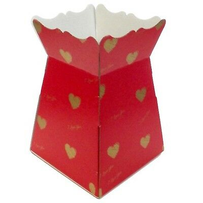 I Love You - Red / Gold - Living Vases Florist Bouquet Box Flower Sweet Boxes