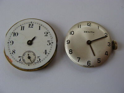 Lot of 2 vintage Zenith watch movements & dials for parts repairs spares.