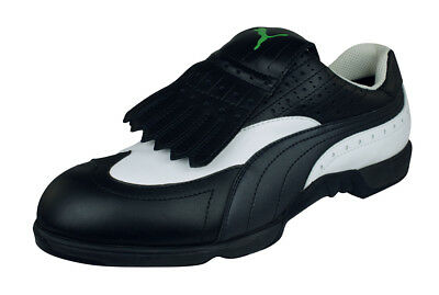 Puma Leere Mens Leather Golf Shoes Spikes Lace-Flap Trainers Black White