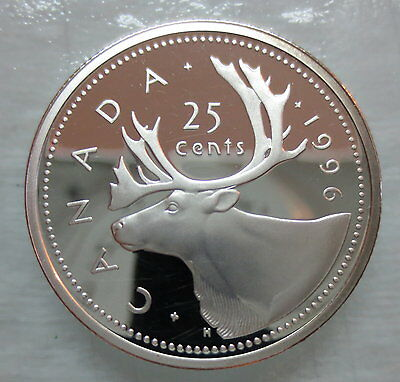 1996 Canada 25 Cents Proof Silver Quarter Heavy Cameo Coin