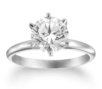 1.07 Ct Round Diamond  Certified Solitaire Engagement Ring 14K White Gold