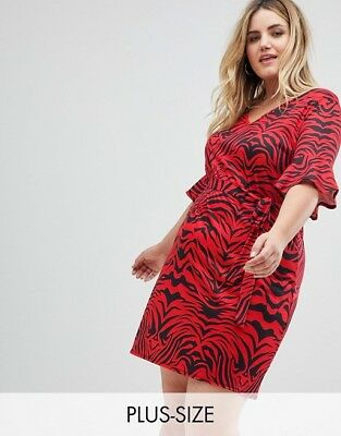 1c0af1feec BNWT ~ ASOS ~ Red   Black Zebra Print Wrap Dress ~ Plus Size UK 22 ...