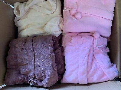 Wholesale Job Lot 41 Ladies Mixed Colours MEDIUM 12/14 Short Hooded Bath Robes a