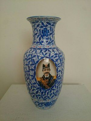 persian antique ceramic vase qajar king painted