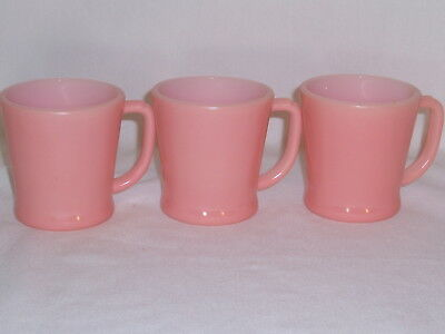 vintage 3 fire king pink coffee cups mugs D-handle glass 1950s-60s
