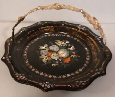 Victorian Papier-mâché Hand Painted /  M.O.P. Cake Plate with Brass Acorn Handle