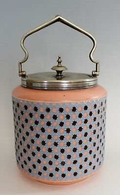 Antique Biscuit Barrel Jar Raised Flowers Earthenware Blue Peach