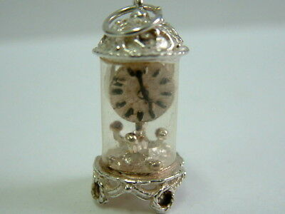 Collectors Solid Silver 1970's Mantle Clock Charm Pendant