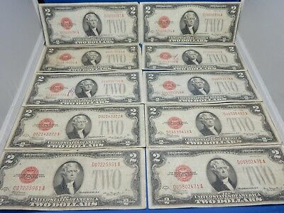 Lot of 10 1928 $2 Red Seal US Notes - Good to Very Good