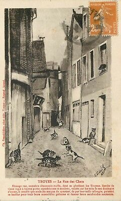 Cp Troyes La Rue Des Chats Illustree