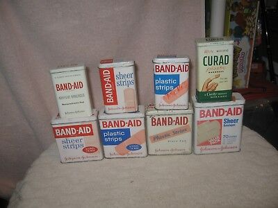 Lot Of 8 Vintage Band-Aid Tins
