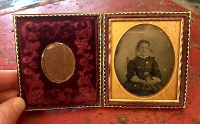 Ambrotype Of Young Girl With Mourning Braided Hair Inset Very Unusual