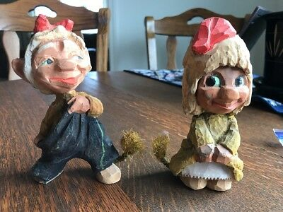 Vtg HENNING NORWAY Hand Carved Wood Troll Couple W/rope Tails 1950s Engelsen