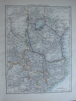 1894 Victorian Map ~ Central Africa East German Sphere Of Influence Mozambique