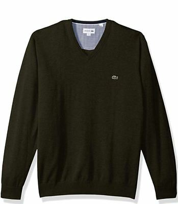 14fe400e9b5 Lacoste Men s V Neck Cotton Jersey Sweater with Sherwood Green Croc Size  XXL New