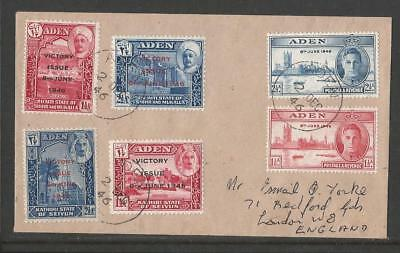Aden & States Kgvi Victory Sets On Cover To England