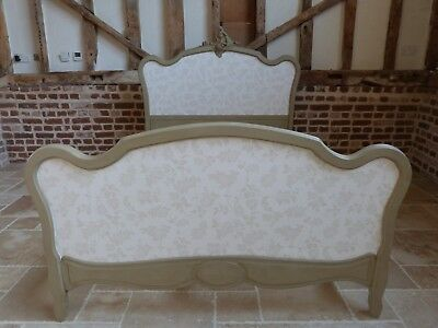 French painted double bed with Laura Ashley print