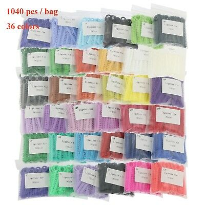 1040 pcs Dental Orthodontic Elastic Ligature Ties Bands for Brackets 36 Colors