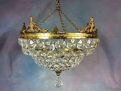Large Vintage French Tiered Bag Chandelier With Rococo Gilt Brass Decoration