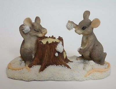Charming Tails Silvestri SNOWBALL FIGHT Mouse Mice Figurine Christmas Winter
