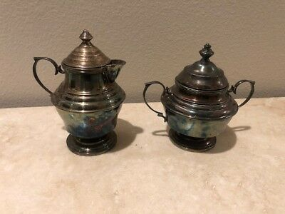 Antique Silver Plated cream and sugar set
