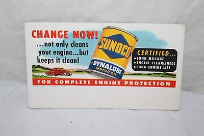 Vintage 1940's Sunoco Dynalube Motor Oil Gas Station Sign