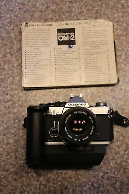 Vintage Olympus OM-2 SLR camera + OM 50mm 1:1.8 lens + Winder 2 ( issue )