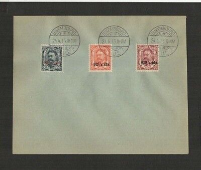 JAN 046 Luxembourg - Guillaume 1915 UNUSED Prestamped Cover w/ overprint stamps