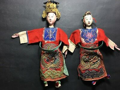 Antique Chinese Pair of Opera Dolls in Worn Condition Man & Lady with Rank Badge