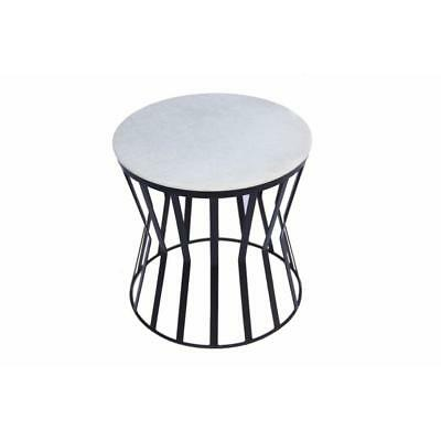 Drum Shaped Round Marble Top Side/ End Table, White,Urban Port