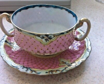 Pink Porcelain Double Handled Tea Cup with Saucer applied Gold Fishnet Design