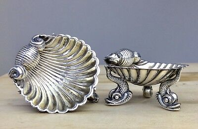 Victorian Solid Sterling Silver Scallop Shell Salt Cellar 1883 Hilliard Thomason