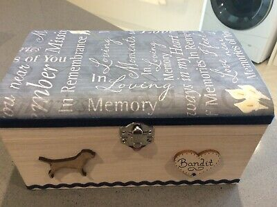 DOG PET IN LOVING MEMORY WOODEN KEEPSAKE MEMORY BOX ASHES PERSONALISED GIFT 20cm