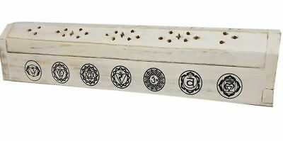 White Washed Chakra Wooden Incense Box Holder Stick Home Decor Fragrance