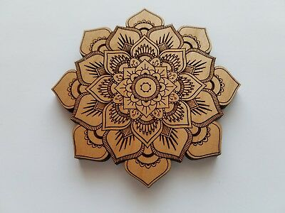 b42cc2c389 Laser Cut Alder Wood Mandala Lotus Flower Home Decor ( Wall Decor, Accent  Piece,