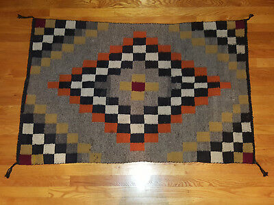 "Vintage Navajo Rug 52"" x 34"" Checkerboard Pattern Wool"