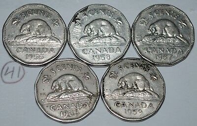 Canada 1955 1956 1957 1958 1959 5 Cents Elizabeth II Canadian Nickels Lot #41